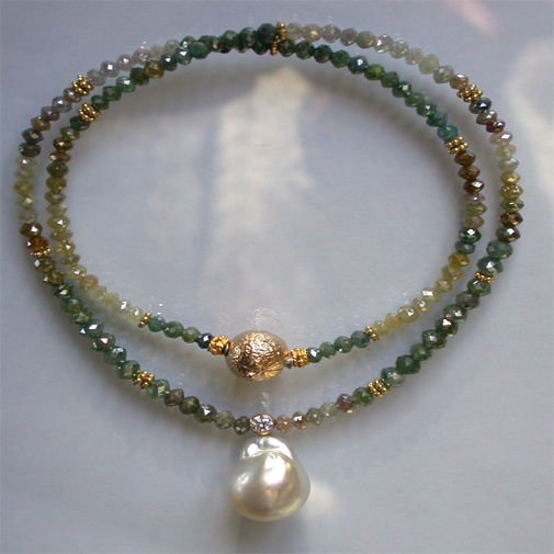 Neclace; diamonds, 18k, diamond, south sea pearl