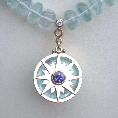 """Aqua"": 18k, aquamarine, sapphire, twvvs diamond"