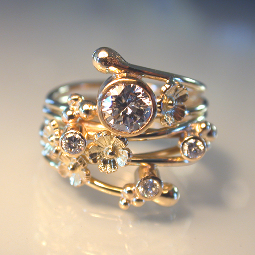 """Spring"" Ring: 18k, diamonds"