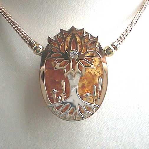 """Tree of life"": 18k, 925, amber, twvvs diamond"