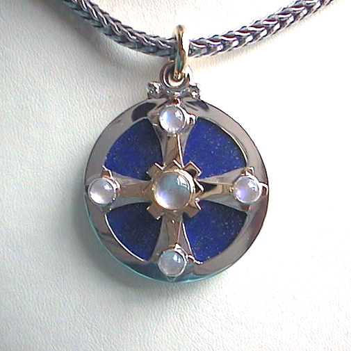 """Medicine Wheel"": 18k, 925 silver, lapis, moonstone"