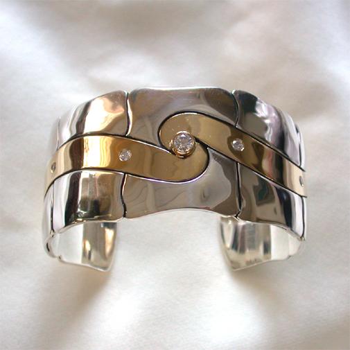 """Bracelet """"Spiral of Life""""; 18k, 925, twvvs diamonds"""
